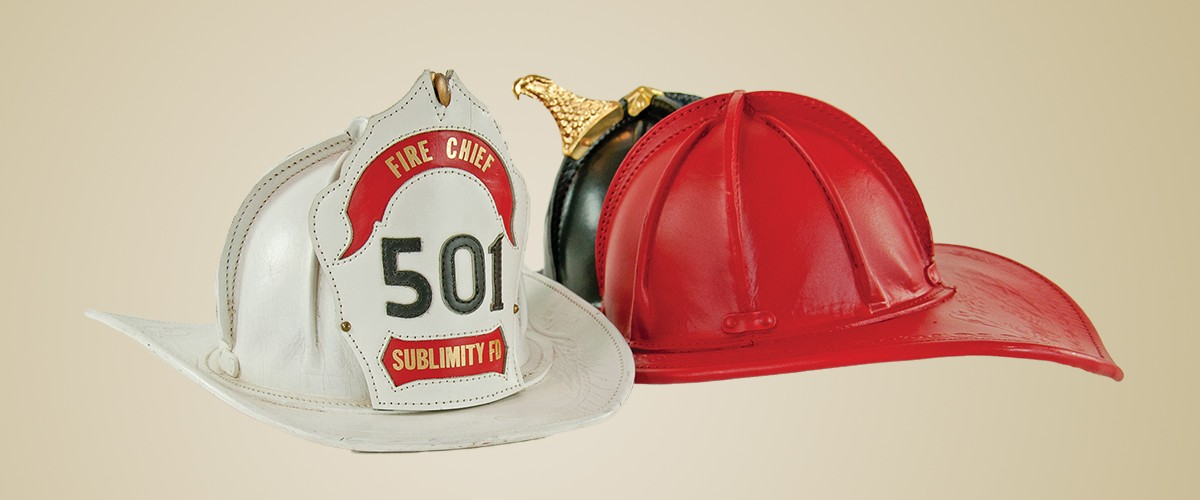 San Francisco style leather fire fighter helmet