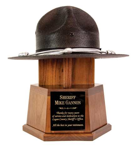 Custom walnut hexagon base with hat, many styles available. Includes engraved plate, with room to mount badges or agency logo or patch