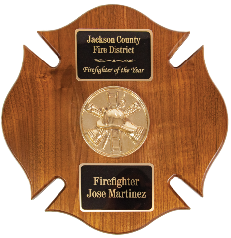 Solid walnut Maltese plaque with bronze cast medallion and brass engraved plates. Medallions available in all fire ranks, fire scramble, and EMS.
