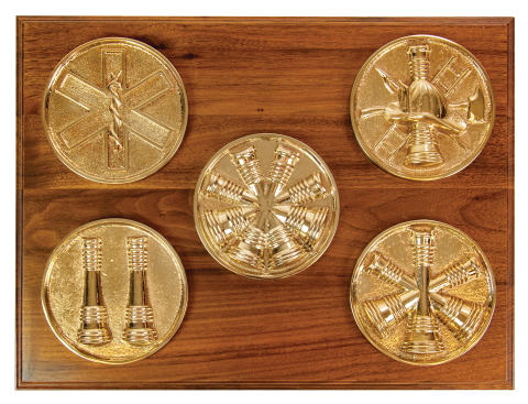 Solid bronze cast medallions, polished to a high gloss finish, or chrome plated.