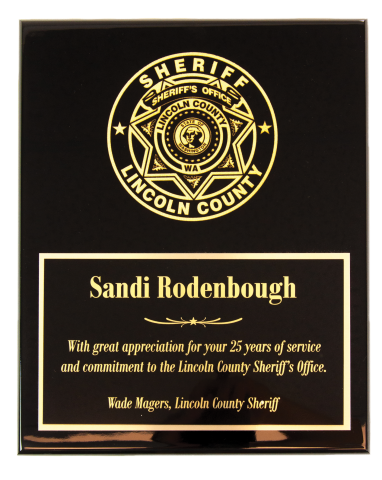 Black or Rosewood piano finish plaque provides a great contrast to your agency's logo or patch engraved directly into the plaque.