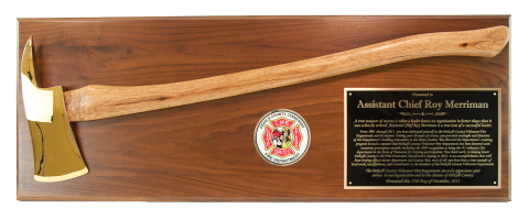 Solid walnut or solid oak plaque board, with axe mounted, your choice of colored brass engraving plate with your custom logo or full color reproduction of your patch, with room to mount badge, if desired.