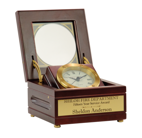Antique style clock features highly accurate quartz clock movement, housed in a satin finish mahogany wood case