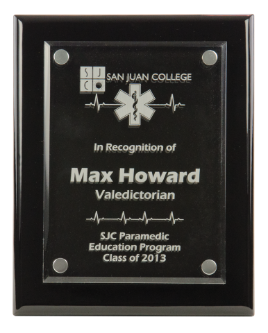 "High gloss piano finish award features 3/16"" thick acrylic plate suspended above the plaque surface."