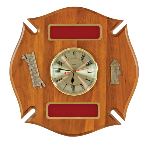 Solid walnut Maltese cross, with quartz clock, trimmed with hydrant, ladder and brass engraving plates.