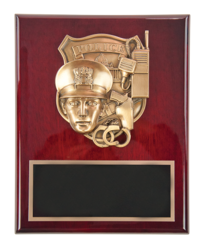 Rich rosewood piano finish plaque with law enforcement casting and engraved