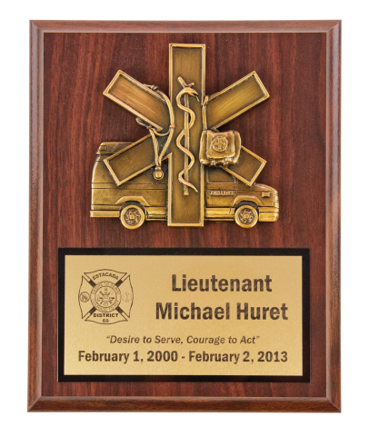 Star of Life scramble mounted on a plaque with brass engraving plate