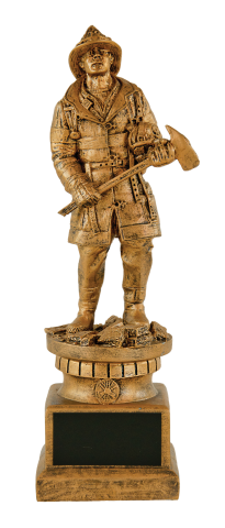 Gold finished firefighter with axe; incudes engraving plate on base.
