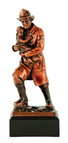 Copper finished firefighter figure; engraving plate included on base