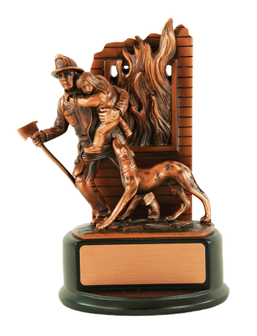 "8"" dark antiqued copper finished firefighter w/child and faithful dog. Engraving plate included on base."