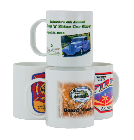 Mugs are imprinted with full color images, including pictures and/or department logos. White only.