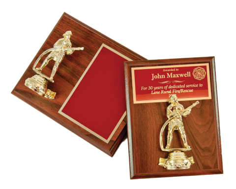 Firefighter figure on plaque with brass engraving plate. Portrait or landscape mount.