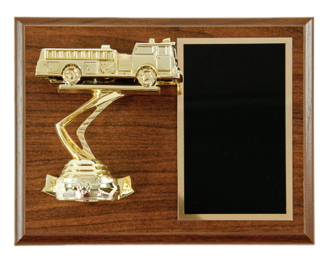 Fire engine figure on plaque with brass engraving plate. Portrait or landscape mount.