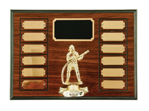 walnut finish perpetual with firefighter figure. Includes top engraved plate and 12 perpetual plates
