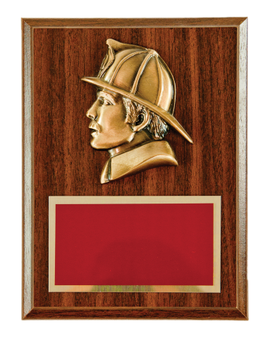 Bronze finish firefighter head with brass engraving plate mounted on plaque.