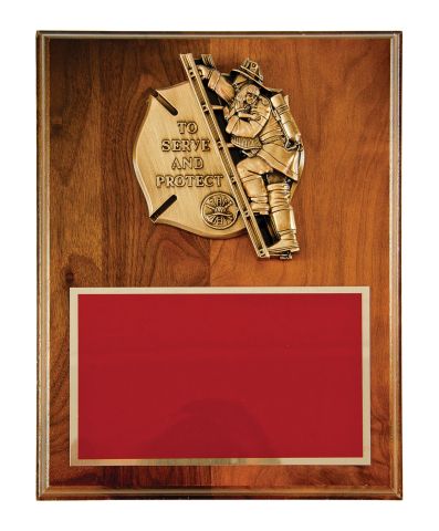 "Bronze finish casting ""To Serve and Protect"" with brass engraving plate mounted on plaque"