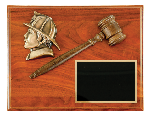 Past President Plaque with half gavel, small firefighter head and brass engraving plate mounted on plaque.