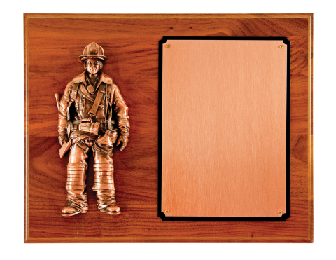 Copper finished firefighter casting, with copper finish engraving plate.