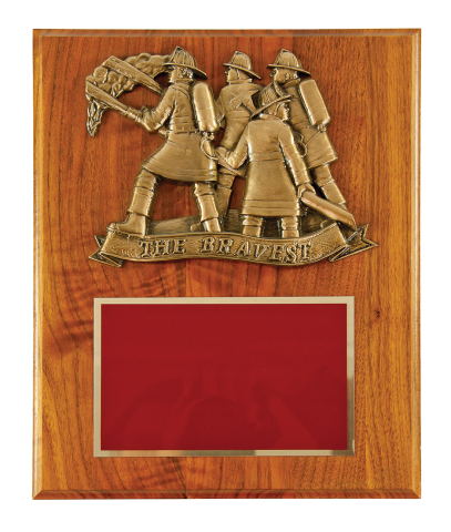 "Bronze finish ""The Bravest"" on a 10""x13"" solid walnut board with brass engraving plate"