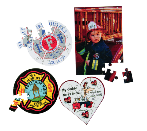 Puzzles can be imprinted with your logo, photos, or artwork. A great idea for a unique gift, one-of-a-kind award, or used as part of your fire prevention programs.