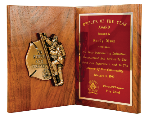 "Solid walnut book plaque 9 ½"" high with bronze finish ""To Serve and Protect"" casting and brass engraving plate"