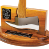 Handcrafted solid walnut base fitted with small gold or chrome axe. Includes brass engraved plate and full color logo, with room to mount badge.