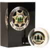 Your badge or coin embedded in solid acrylic block, clear or black background available.