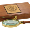 Antique reproduction hand magnifier features solid hardwood handle and solid brass ribbed trim, housed in a beautiful hardwood case.