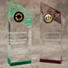 "These acrylic towers are 3"" x 8.75"" x 2"".  They are laser engraved with your wording and logo or design."